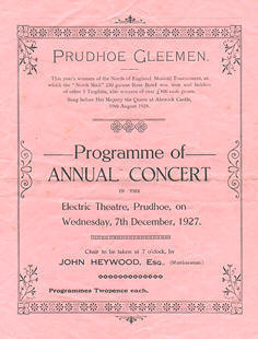 front of Annual Concert Programme 1927