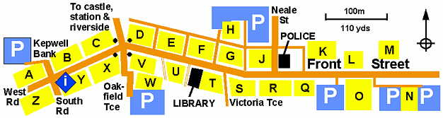 map of Prudhoe town centre by Pete Barrett